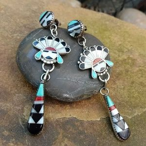 Sterling Sunface Kachina earrings